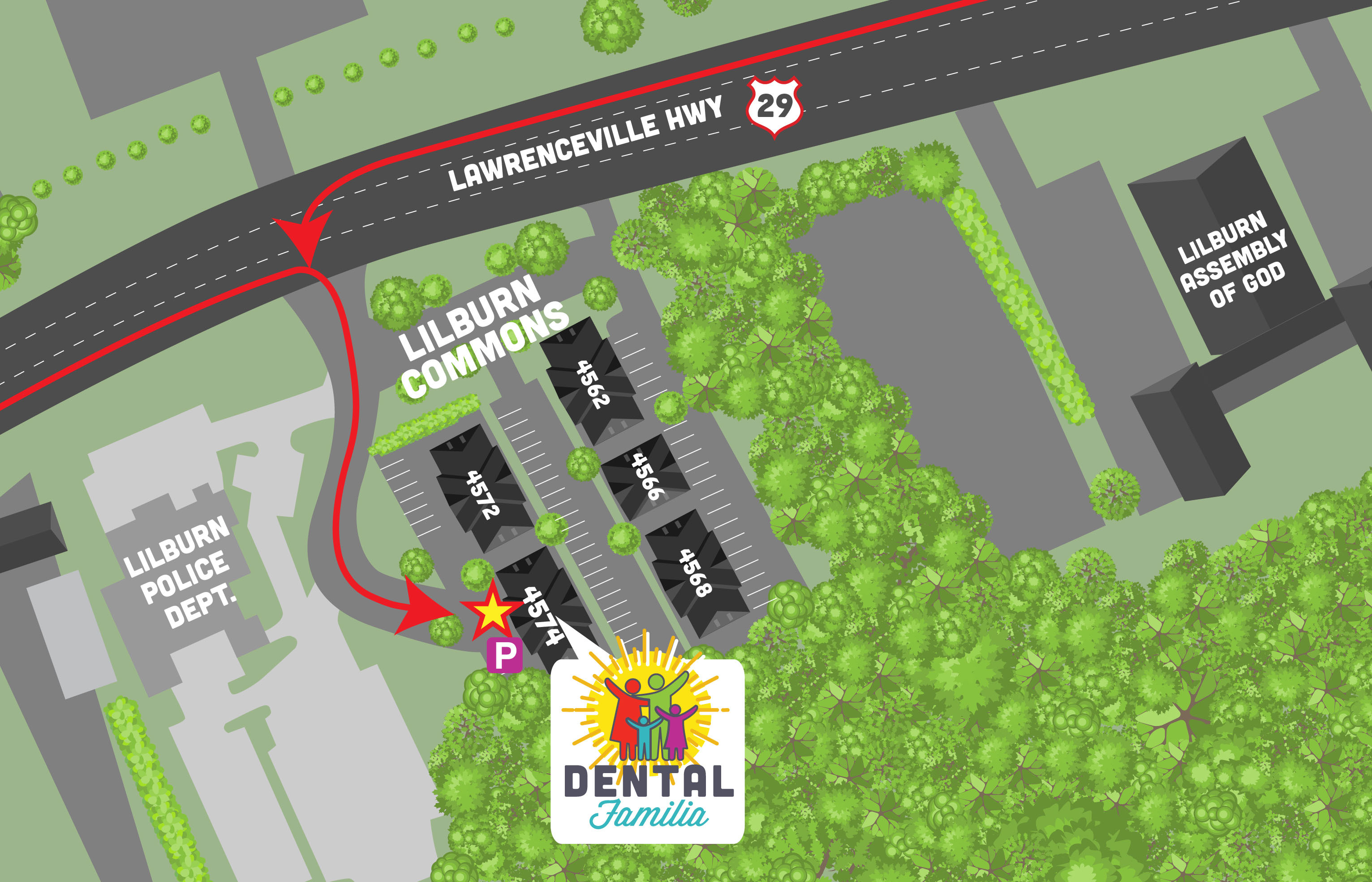 Dental Familia entrance map.